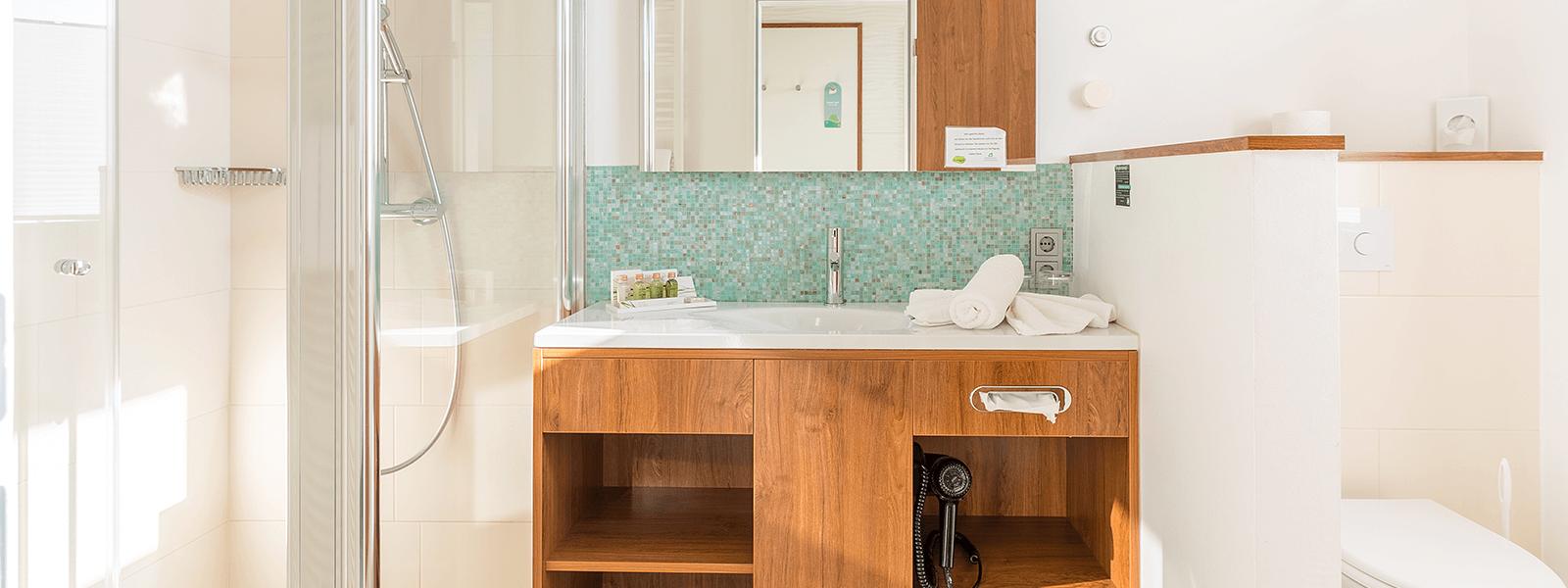 Blick ins Bad auf Dusche, Waschbecken und Toilette