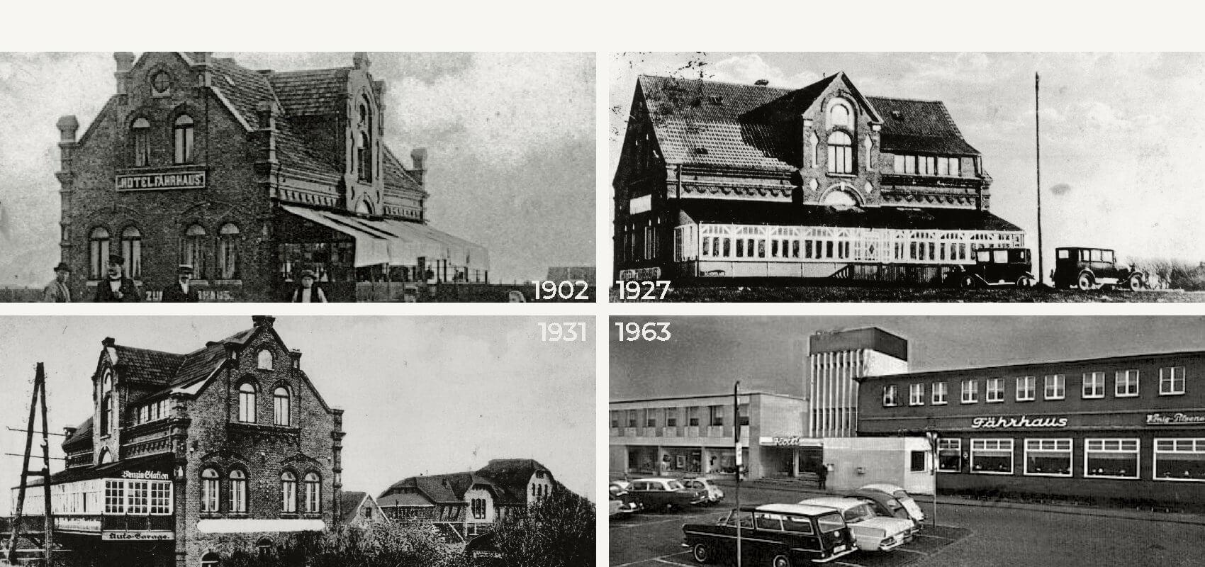 Vier Bilder vom Fährhaus aus unterschiedlichen Jahrzehnten