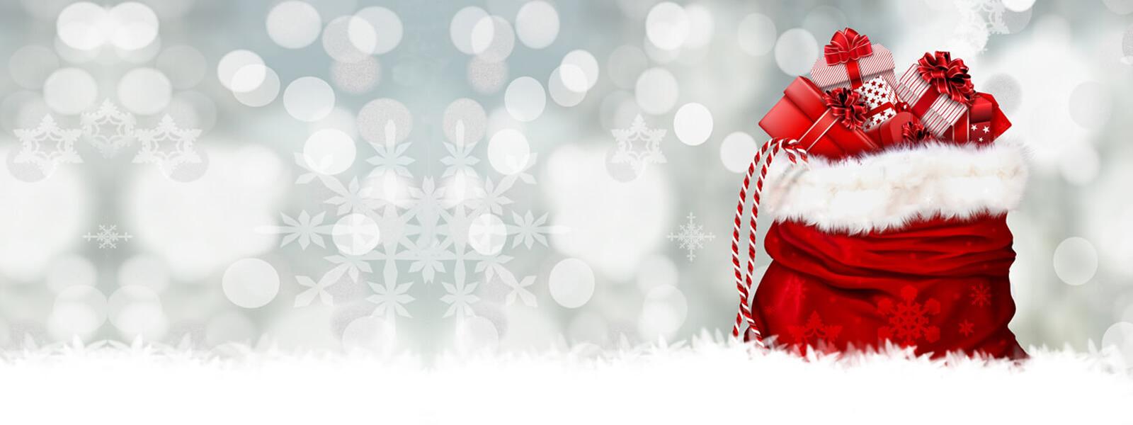 Schneeflocken, Schnee, Weihnachtssack gefüllt mit Geschenken