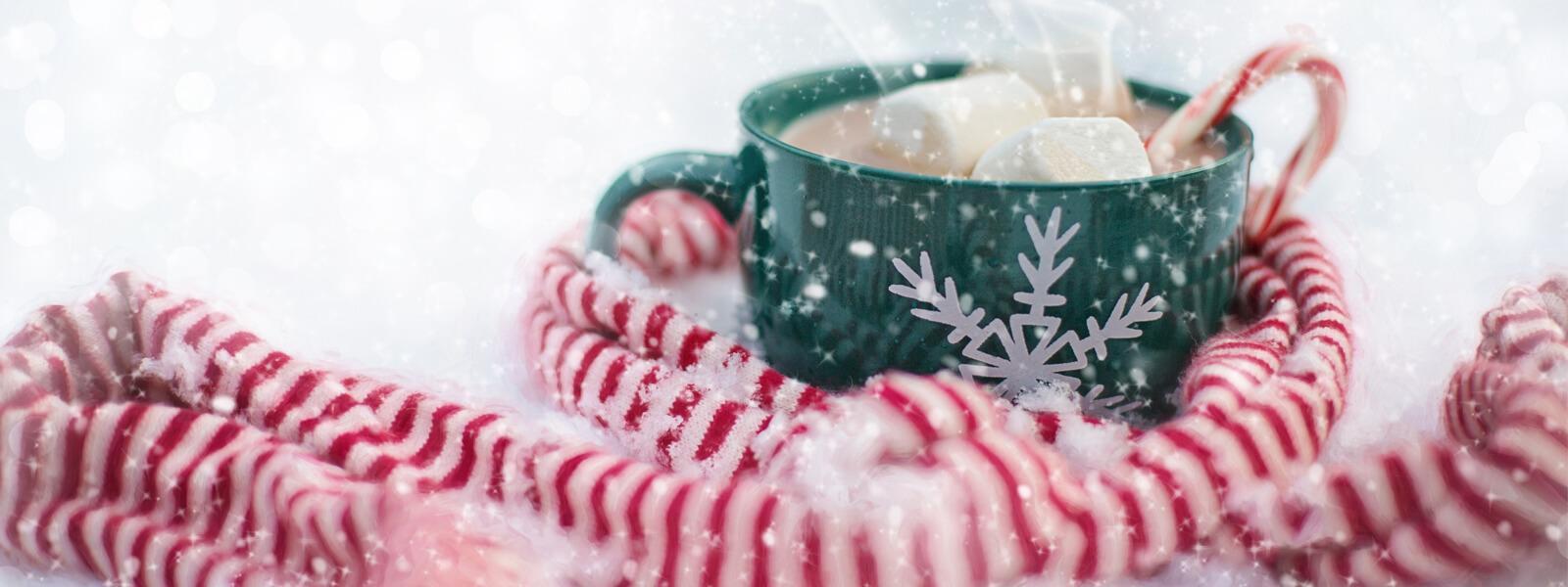 Schal und grüne Tasse mit Kakao und Marshmallows